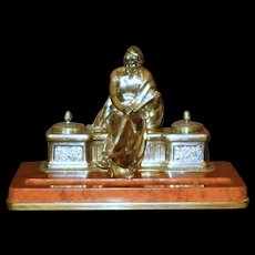 Massive Museum Quality Silvered Bronze & Marble Classical Inkwell