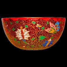 Superb Kakiemon Moser Enamel & Gilt Amberina Bowl