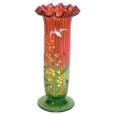 LeGras Rubina Verde Shaded Cranberry Enameled Art Glass Vase