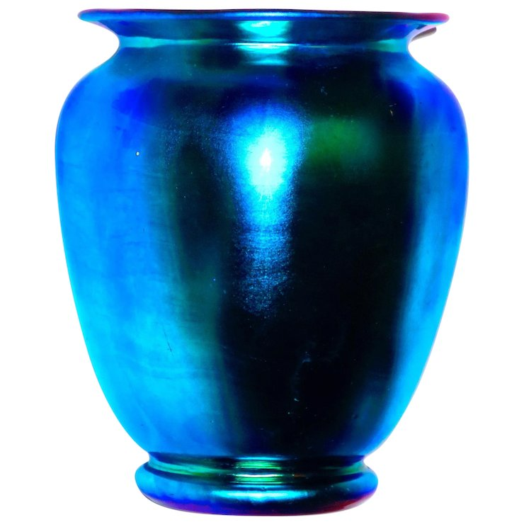 Signed Steuben Blue Aurene Shade Vase Sold Ruby Lane