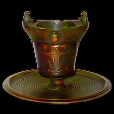 Signed Egyptian Revival Bronze Match Striker w/Figural Scarabs & Winged Horus