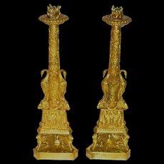 19th Century Grand Tour Copies of Giovanni Battista Piranesi Candlesticks