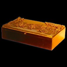 Fine Quality Large Bronze Humidor Box for Cigars or Tea w/Classical Scene