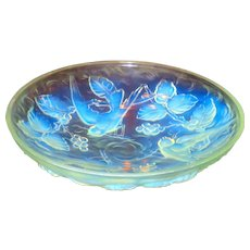 Art Deco Jobling Huge Frosted Opalescent Glass Bowl or Charger w/Birds & Berries