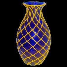 Important Loetz Designer Harlequin Art Glass Deco Vase in Cobalt/Yellow