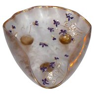 Large Mt. Joye St. Denis (LeGras) Cameo Glass Footed Dish w/Violets
