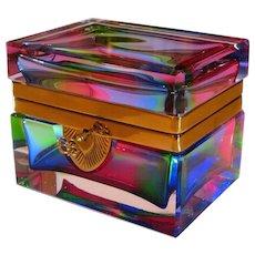 Superb Mid-Century Heavy Rainbow Crystal Casket or Box w/Orig. Key