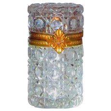 Ormolu Mount French Cut Glass Box in the Style of 18th C Baccarat