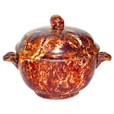 Rare 18th C Agate Ware Covered Dish w/Flower Bud Finial