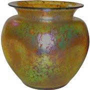 Large Loetz Papillon Austrian Iridescent Vase w/Pushed in Sides