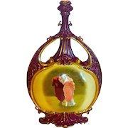 "Superb Large 14"" Handpainted Porcelain Vase Cherub & Classical Lovers"