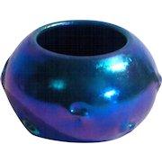 L.C. Tiffany Favrile Glass Blue Iridescent Pigtail Mini Vase or Salt
