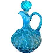 Rare Hobbs, Brockunier & Co./Beaumont Glass Co. Circa 1890 Seaweed Blue Opalescent Cruet