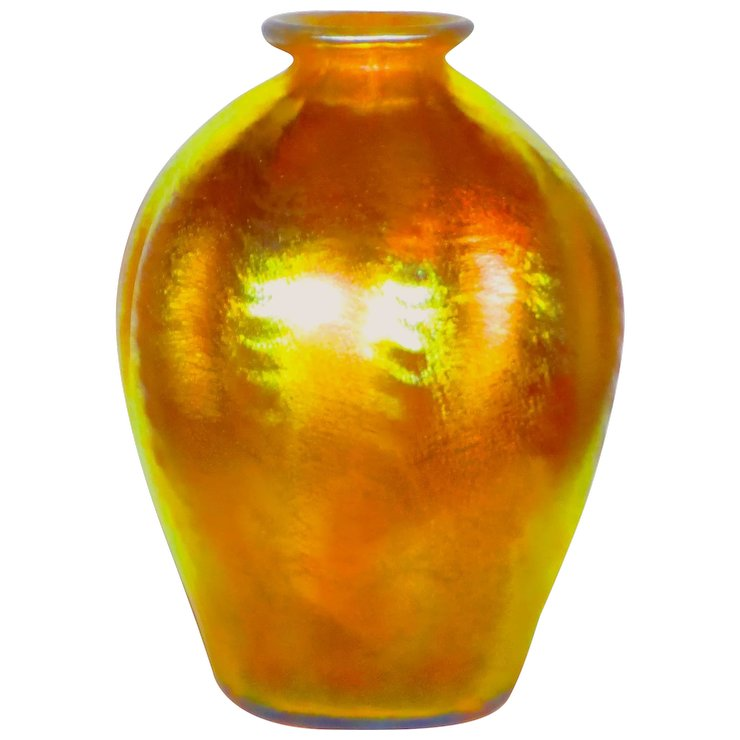 Tiffany Favrile Gold Iridescent Art Glass Vase Woutstanding Color
