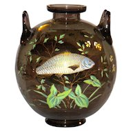 Superb Large French or Bohemian Vase w/Enameled Fish in the style of Galle