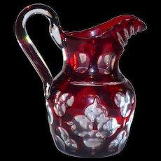 Rare Boston & Sandwich Glass Ca. 1840-50 Ruby Cased cut to Clear Pitcher