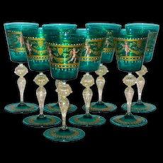 Set/8 Salviati & Co. Venetian Tall Goblets w/Cherubs & Lions in Classical Style