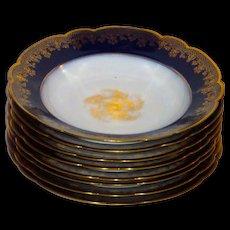 Set of 8 Limoges Porcelain Flow Blue Wm Guerin Soup Plates w/ Gilding