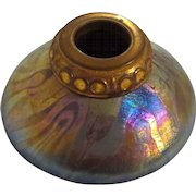 Decorated Iridescent Art Glass Austrian Inkwell in Ruby Glass