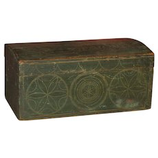 American Pine Early Painted Box w/ Compass Decoration in Orig. Green Paint