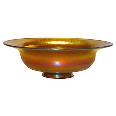 L. C. Tiffany Favrile Glass Footed Bowl in Gold Favrile