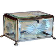 Victorian Display Box Dresser in Cut & Bevelled Glass w/Paw Feet