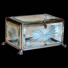Victorian Display Box Dresser in Cut & Bevelled Glass w/Paw Feet