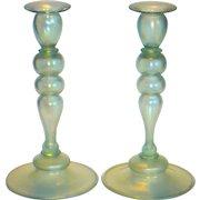 Pair of Steuben Venetian Style Aquamarine Iridescent Candlesticks