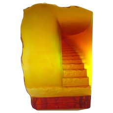 Daum Nancy Cast Glass Sculpture in Amber Surrealist Staircase
