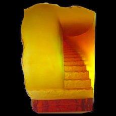 Daum Nancy Cast Glass Sculpture in Amber Surrealist Staircase