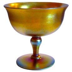 Steuben Gold Aurene Footed Compote