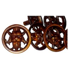 Set/7 Victorian Bronze Figural Mask Round Cabinet or Drawer Pulls