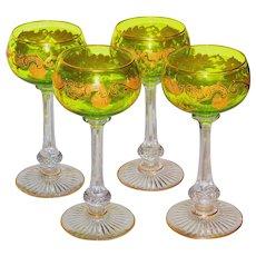 St. Louis Massenet Set/4 Goblets Citron Color w/Etch & Gilt