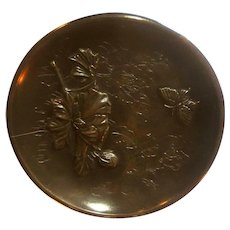 Fine Quality Japanese Meiji Bronze Plate w/Butterfly & Florals