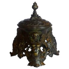 Ca. 1850 Grand Tour Large Mythological Figural Bronze Inkwell in Renaissance Taste