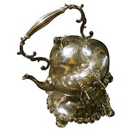 Superb Large Victorian Rococo Hot Water or Spirits Silver Plate Service Kettle