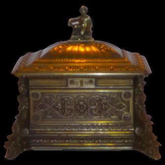 Bronze Renaissance Style Large Dresser Box or Casket w/Figural Details