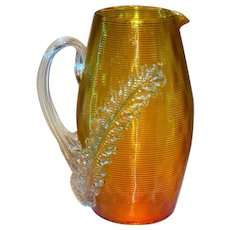 Rare Diamond Quilted & Threaded Amberina Pitcher Stevens & Williams