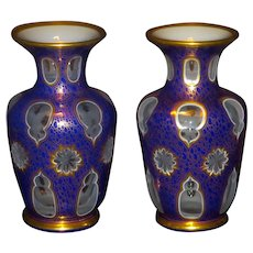 Superb ca. 1870 Pair Bohemian Overlay cut to Clear Vases for Middle Eastern Market