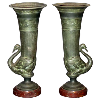 Antique Empire Style Swan Garniture Candle Holders w/Marble Bases