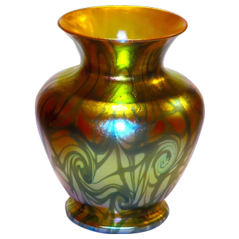 Exceptional Durand Blue & Gold Coil #1701 Decorated Iridecsent Vase