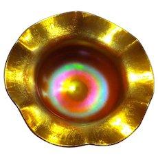 Steuben Brilliant Gold Aurene #138 Bonbon w/Stretched Edge
