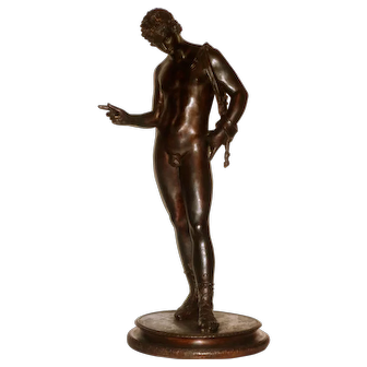 Large Classical Male Nude Ca. 1870 Grand Tour Bronze of Narcissus