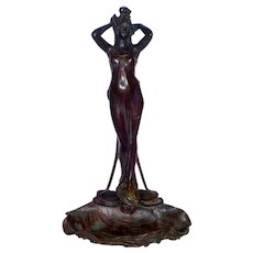 Nouveau style Nymph on Shell w/ Octopus after Emmanuele Villanis (French 1858-1914)
