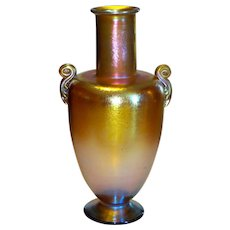 L.C. Tiffany Favrile Glass Golden Iridescent Large Classical Vase
