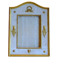 Superb Stern Bros. Moire Silk and Leather Frame w/Ormolu Mounts for Wedding Pic
