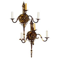 Fantastic Pair Large Solid Brass Victorian Gas Electric Wall Sconces