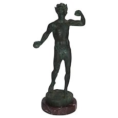 Grand Tour Male Nude Bronze Faun Sculpture Mounted on Marble