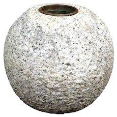 "Fantastic Mid-Century Granite and Bronze ""Ball"" Vase"