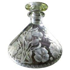 Art Nouveau Libbey Intaglio Engraved Perfume Bottle w/Poppies